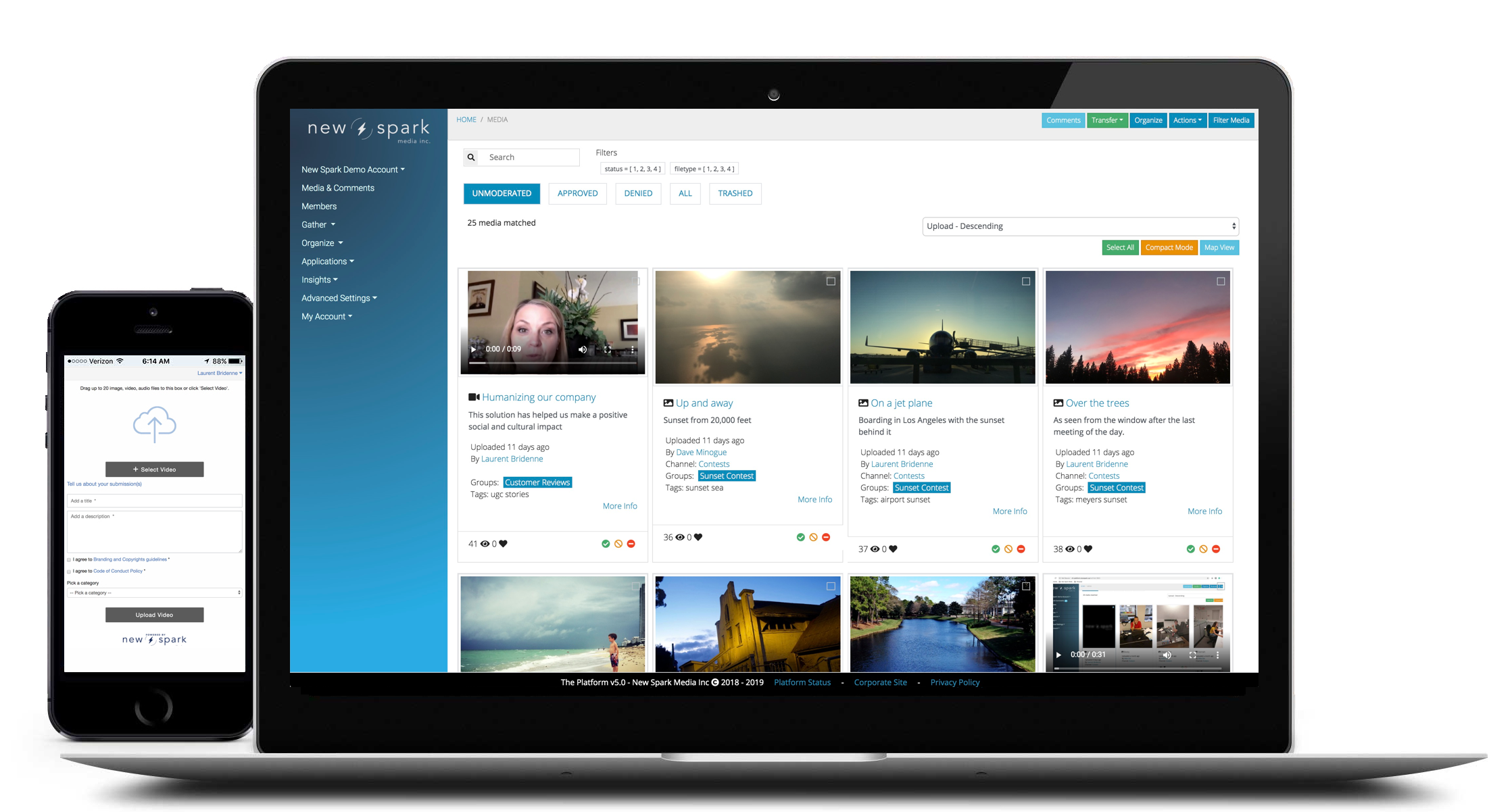 Responsive upload widget and media moderation screen for New Spark Media Enterprise Media Platform